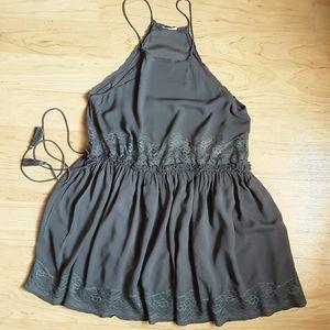 Free people Gray Semi-sheer halter Dress